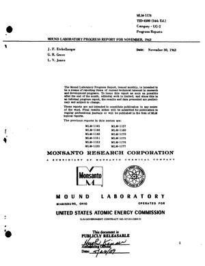 Primary view of object titled 'MOUND LABORATORY PROGRESS REPORT FOR NOVEMBER, 1963'.