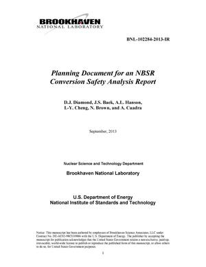 Primary view of object titled 'Planning Document for an NBSR Conversion Safety Analysis Report'.