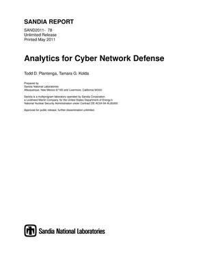 Primary view of object titled 'Analytics for Cyber Network Defense.'.