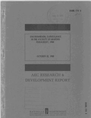 Primary view of object titled 'ENVIRONMENTAL SURVEILLANCE IN THE VINCINITY OF HANFORD FOR AUGUST, 1968'.