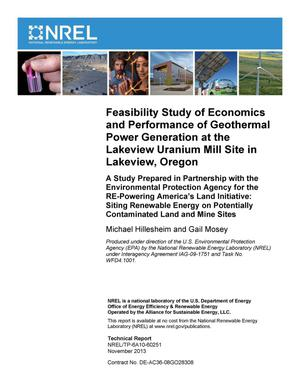Primary view of object titled 'Feasibility Study of Economics and Performance of Geothermal Power Generation at the Lakeview Uranium Mill Site in Lakeview, Oregon. A Study Prepared in Partnership with the Environmental Protection Agency for the RE-Powering America's Land Initiative: Siting Renewable Energy on Potentially Contaminated Land and Mine Sites'.