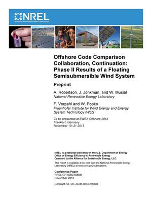 Primary view of object titled 'Offshore Code Comparison Collaboration, Continuation: Phase II Results of a Floating Semisubmersible Wind System: Preprint'.