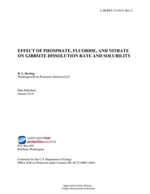 Primary view of object titled 'Effect of Phosphate, Fluoride, and Nitrate on Gibbsite Dissolution Rate and Solubility'.