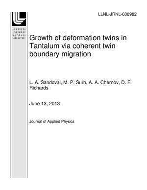 Primary view of object titled 'Growth of deformation twins in Tantalum via coherent twin boundary migration'.