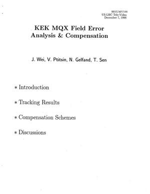 Primary view of object titled 'KEK MQX Field Error Analysis and Compensation'.