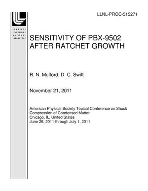 Primary view of object titled 'SENSITIVITY OF PBX-9502 AFTER RATCHET GROWTH'.