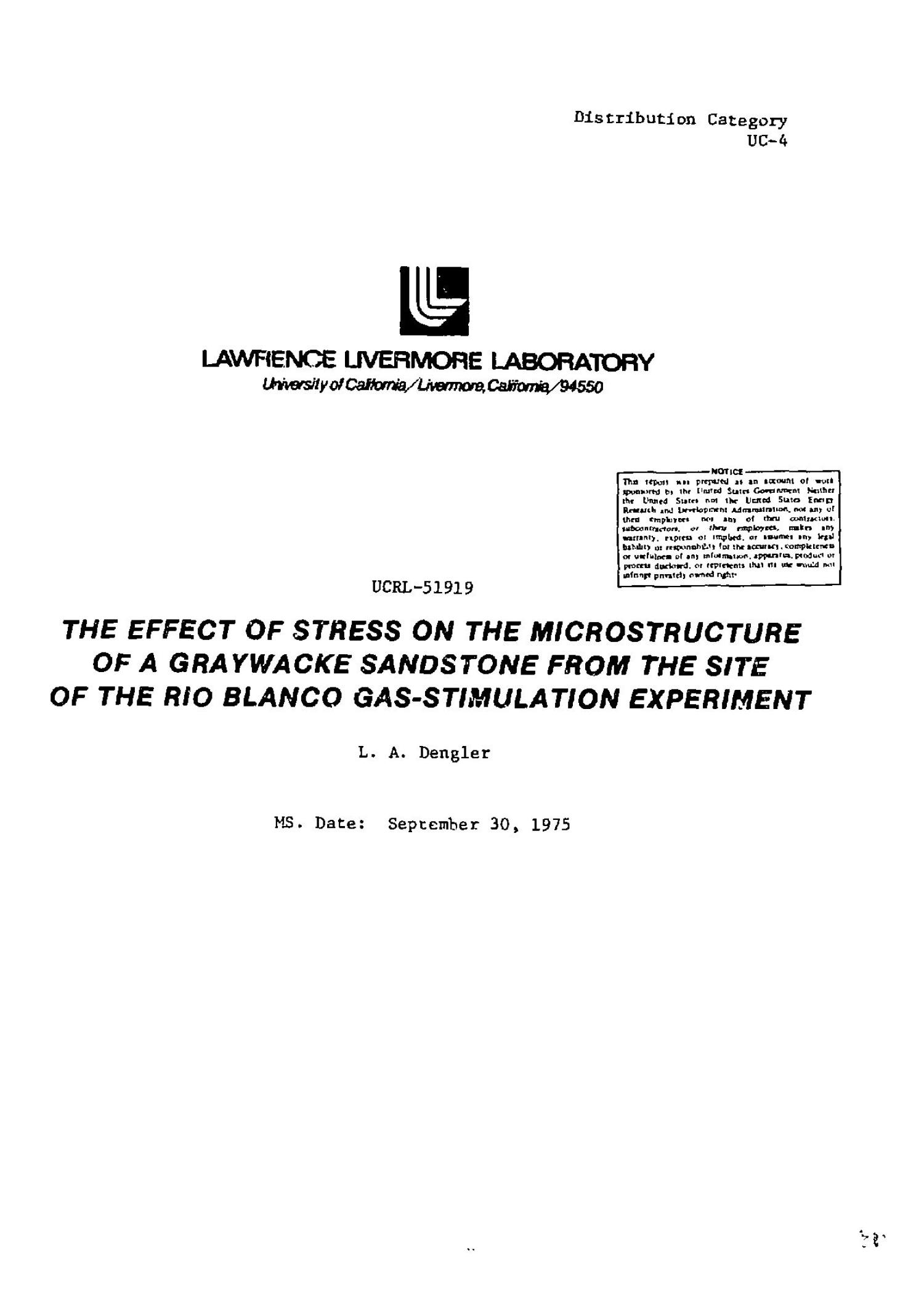 Effect of stress on the microstructure of a graywacke sandstone from the site of the Rio Blanco gas-stimulation experiment                                                                                                      [Sequence #]: 3 of 36