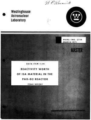 Primary view of object titled 'Reactivity worth of ISA material in the PAX-G2 reactor. Final report'.