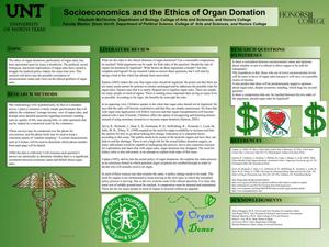 Primary view of object titled 'Socioeconomics and the Ethics of Organ Donation'.