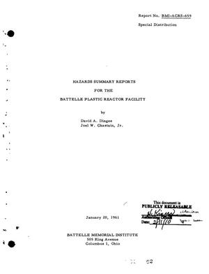 Primary view of object titled 'HAZARDS SUMMARY REPORT FOR THE BATTELLE PLASTIC REACTOR FACILITY'.