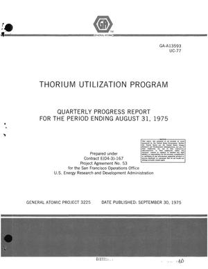 Primary view of object titled 'Thorium utilization program. Quarterly progress report for the period ending August 31, 1975'.