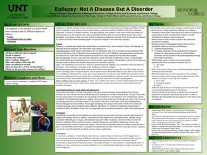 Primary view of object titled 'Epilepsy: Not A Disease But A Disorder'.