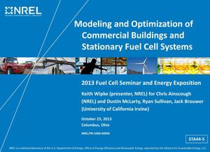 Primary view of object titled 'Modeling and Optimization of Commercial Buildings and Stationary Fuel Cell Systems (Presentation)'.