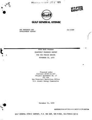 Primary view of object titled 'HTGR BASE PROGRAM QUARTERLY PROGRESS REPORT FOR THE PERIOD ENDING NOVEMBER 30, 1970.'.