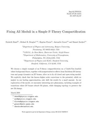 Primary view of object titled 'Fixing All Moduli in a Simple F-Theory Compactification'.