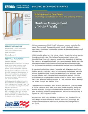 Primary view of object titled 'Moisture Management of High-R Walls (Fact Sheet)'.