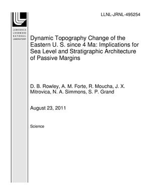 Primary view of object titled 'Dynamic Topography Change of the Eastern U. S. since 4 Ma: Implications for Sea Level and Stratigraphic Architecture of Passive Margins'.