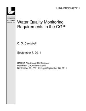 Primary view of object titled 'Water Quality Monitoring Requirements in the CGP'.