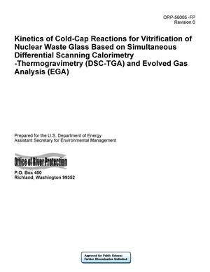 Primary view of object titled 'Kinetics of Cold-Cap Reactions for Vitrification of Nuclear Waste Glass Based on Simultaneous Differential Scanning Calorimetry - Thermogravimetry (DSC-TGA) and Evolved Gas Analysis (EGA)'.
