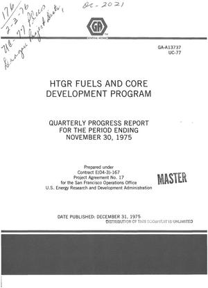 Primary view of object titled 'HTGR fuels and core development program. Quarterly progress report for the period ending November 30, 1975'.