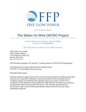 Primary view of object titled 'Final Technical Report: The Water-to-Wire (W2W) Project'.