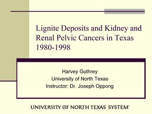 Primary view of object titled 'Lignite Deposits and Kidney and Renal Pelvic Cancers in Texas 1980-1998'.