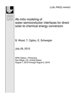 Primary view of object titled 'Ab-initio modeling of water-semiconductor interfaces for direct solar-to-chemical energy conversion'.
