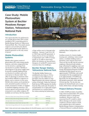 Primary view of object titled 'Case Study: Mobile Photovoltaic System at Bechler Meadows Ranger Station, Yellowstone National Park (Brochure)'.
