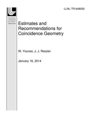 Primary view of object titled 'Estimates and Recommendations for Coincidence Geometry'.