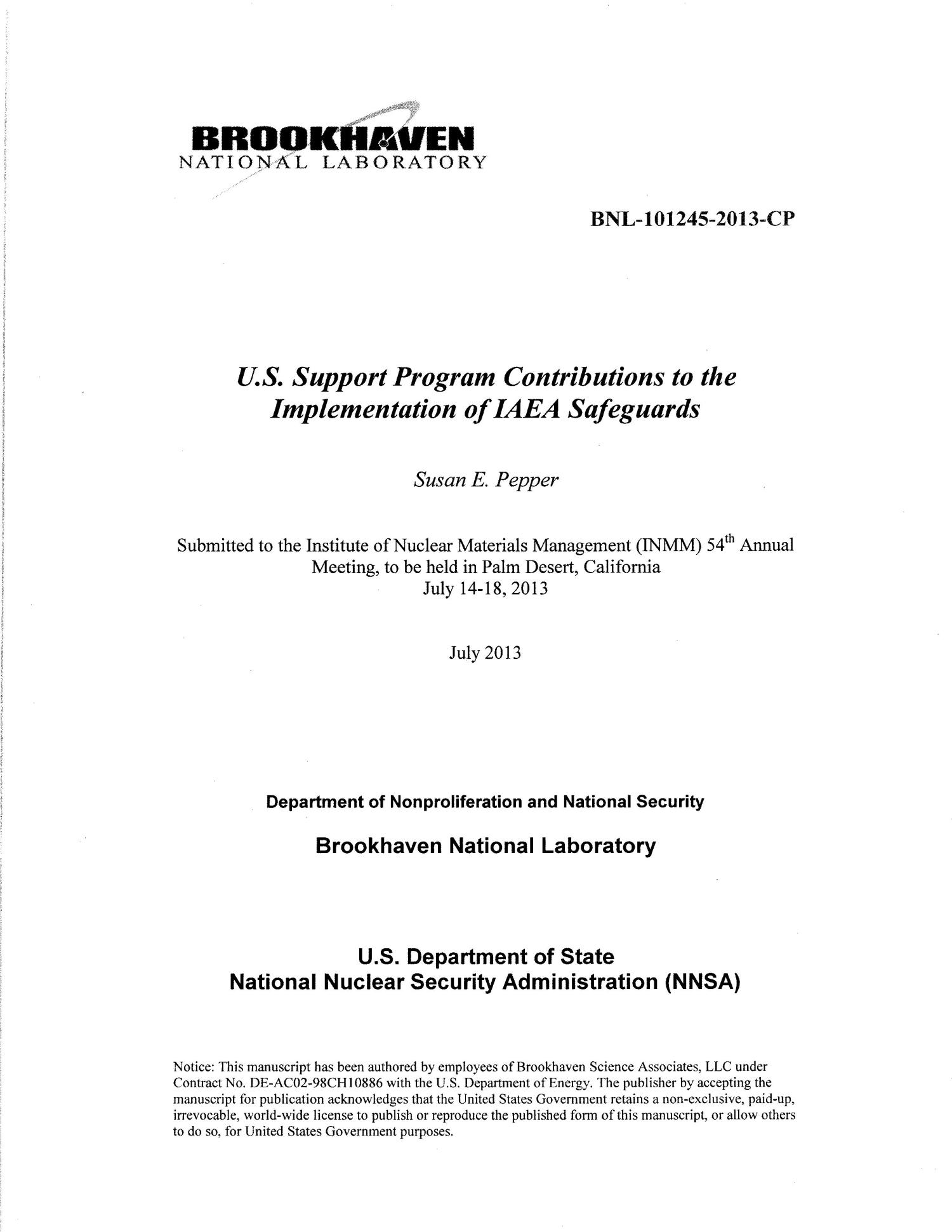 U.S. Support Program Contributions to the Implementation of IAEA Safeguards                                                                                                      [Sequence #]: 1 of 11