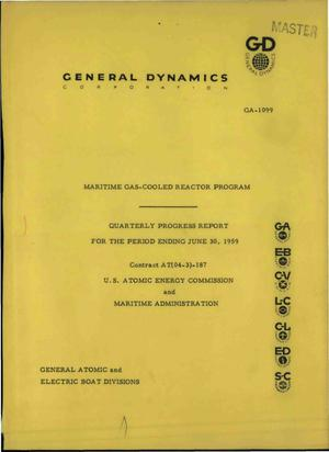 Primary view of object titled 'Maritime Gas-Cooled Reactor Program Quarterly Progress Report for the Period Ending June 30, 1959'.