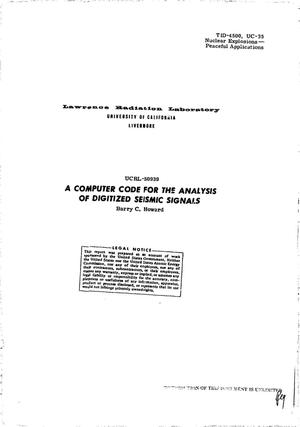 Primary view of object titled 'COMPUTER CODE FOR THE ANALYSIS OF DIGITIZED SEISMIC SIGNALS.'.