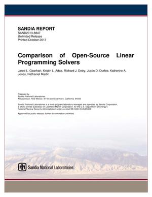 Primary view of object titled 'Comparison of open-source linear programming solvers.'.