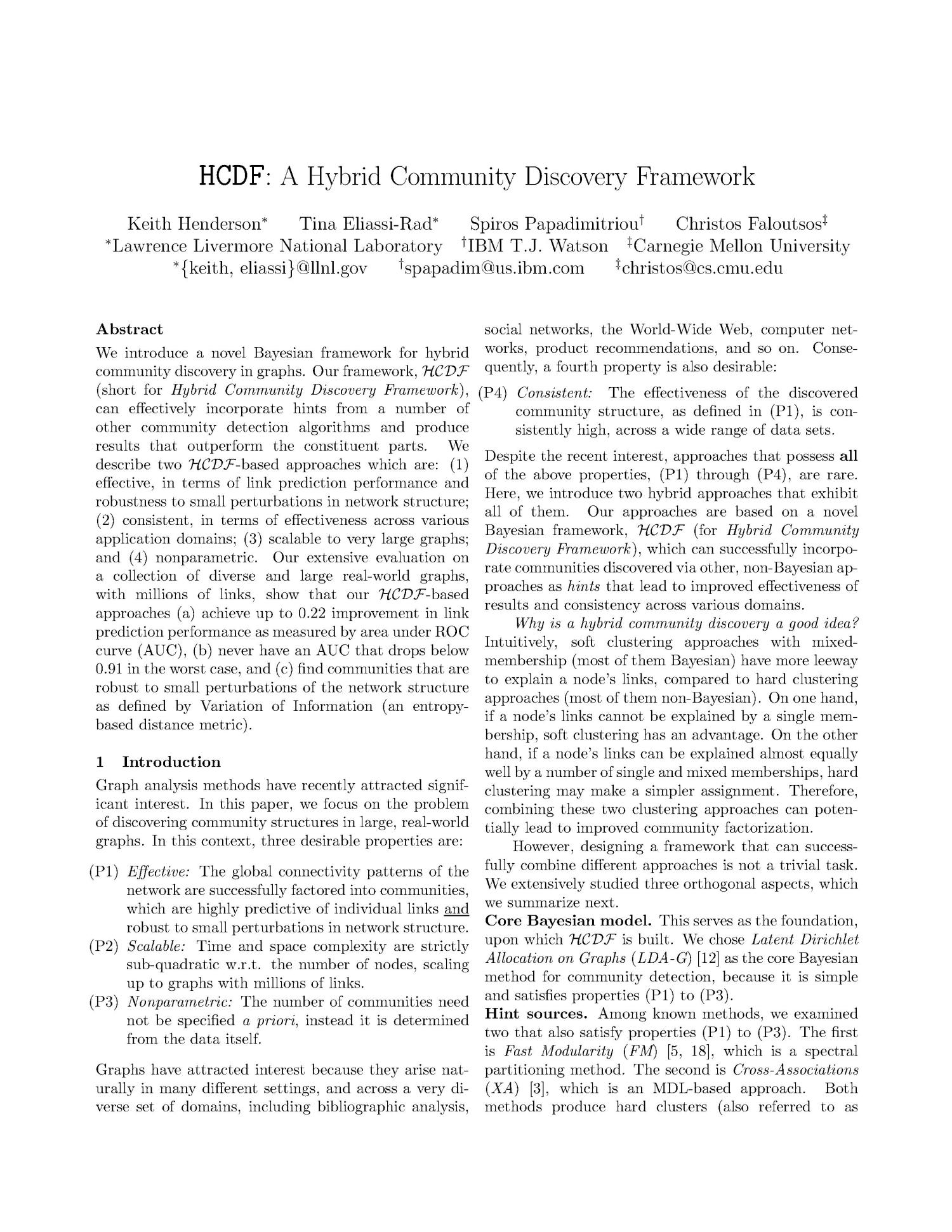 HCDF: A Hybrid Community Discovery Framework                                                                                                      [Sequence #]: 3 of 14