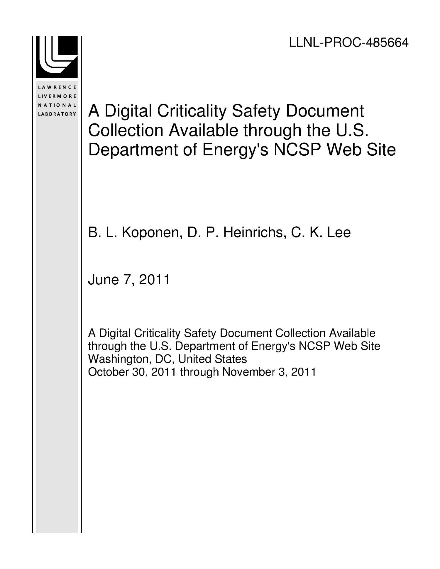 A Digital Criticality Safety Document Collection Available through the U.S. Department of Energy's NCSP Web Site                                                                                                      [Sequence #]: 1 of 4