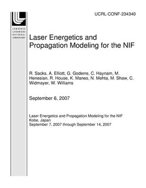 Primary view of object titled 'Laser Energetics and Propagation Modeling for the NIF'.