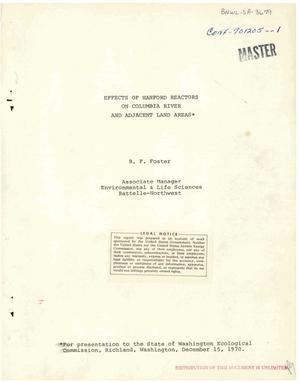 Primary view of object titled 'EFFECTS OF HANFORD REACTORS ON COLUMBIA RIVER AND ADJACENT LAND AREAS.'.
