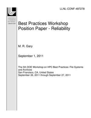 Primary view of object titled 'Best Practices Workshop Position Paper - Reliability'.