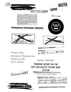 Primary view of object titled 'Program report on the anti-criticality poison wire system'.
