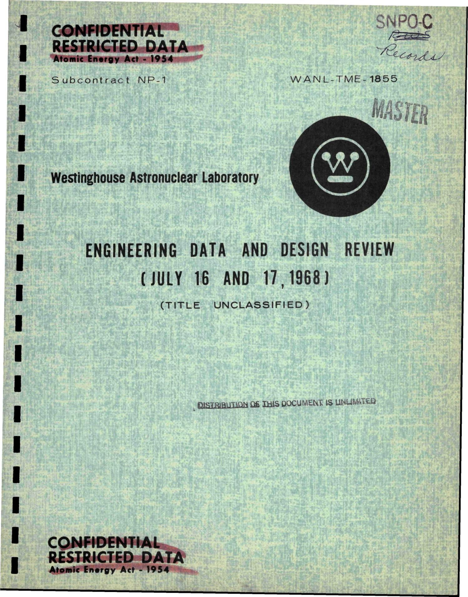 Engineering data and design review (July 16 and 17, 1968)                                                                                                      [Sequence #]: 1 of 478