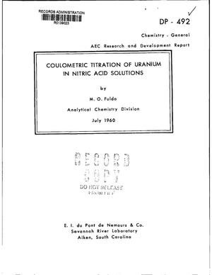 Primary view of object titled 'COULOMETRIC TITRATION OF URANIUM IN NITRIC ACID SOLUTIONS'.