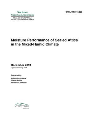 Primary view of object titled 'Moisture performance of sealed attics in the mixed-humid climate'.