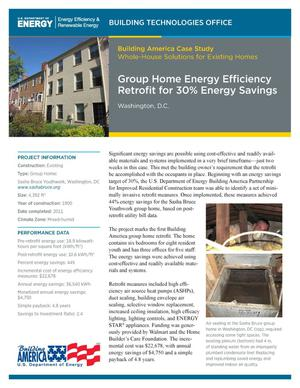 Primary view of object titled 'Group Home Energy Efficiency Retrofit for 30% Energy Savings: Washington, D.C. (Fact Sheet)'.