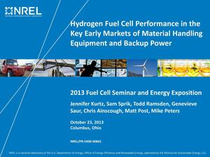 Primary view of object titled 'Hydrogen Fuel Cell Performance in the Key Early Markets of Material Handling Equipment and Backup Power (Presentation)'.