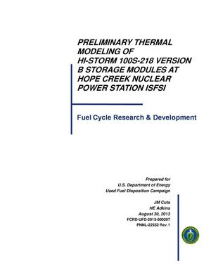Primary view of object titled 'Preliminary Thermal Modeling of Hi-Storm 100S-218 Version B Storage Modules at Hope Creek Nuclear Power Station ISFSI'.