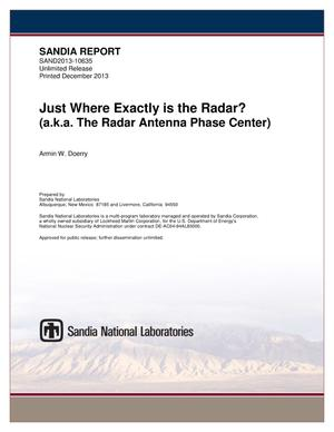 Primary view of object titled 'Just where exactly is the radar? (a.k.a. the radar antenna phase center).'.