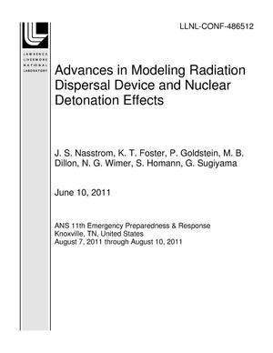 Primary view of object titled 'Advances in Modeling Radiation Dispersal Device and Nuclear Detonation Effects'.