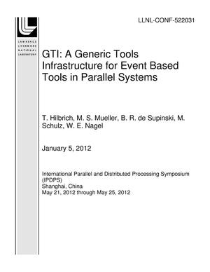 Primary view of object titled 'GTI: A Generic Tools Infrastructure for Event Based Tools in Parallel Systems'.