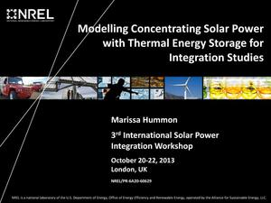 Primary view of object titled 'Modelling Concentrating Solar Power with Thermal Energy Storage for Integration Studies (Presentation)'.