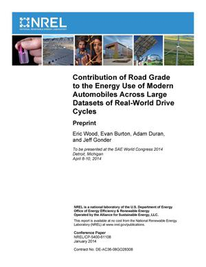 Primary view of object titled 'Contribution of Road Grade to the Energy Use of Modern Automobiles Across Large Datasets of Real-World Drive Cycles: Preprint'.